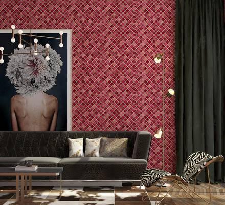 沙发组合, 沙发茶几组合, 装饰画, 吊灯, 落地灯