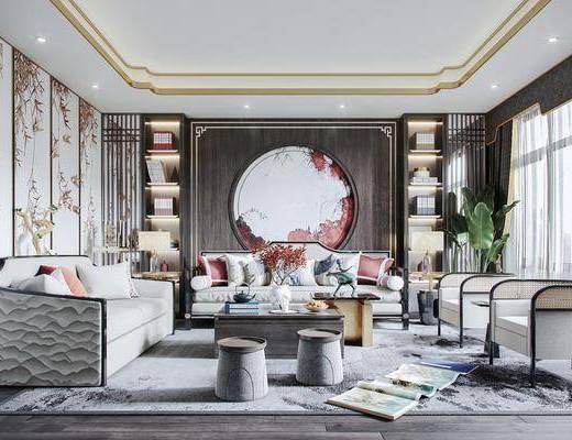 沙发组合, 墙饰, 茶几, 单椅, 摆件, 书籍, 花瓶