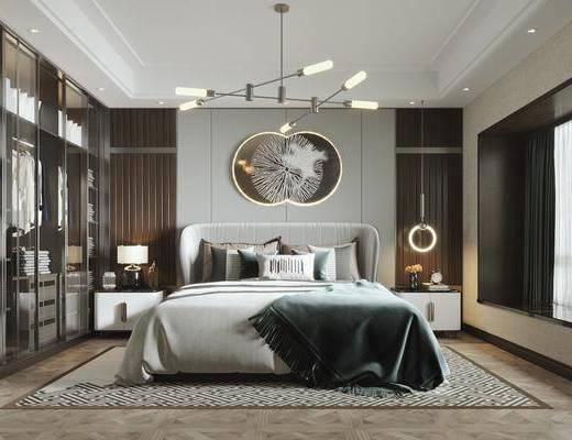 双人床, 墙饰, 衣柜, 服饰, 衣架, 床头柜, 台灯, 吊灯