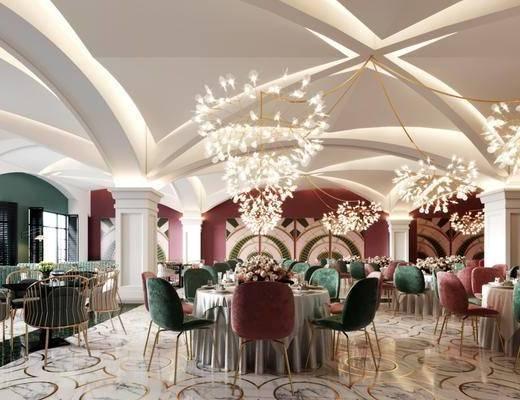 宴会厅, 餐桌, 餐椅, 单人椅, 摆件, 装饰品, 多人沙发, 花卉, 餐具, 圆桌, 休闲椅, 吊灯, 现代