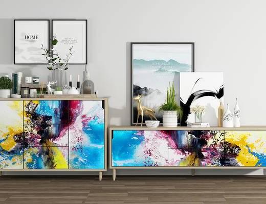 北欧边柜, 电视柜, 摆件, 装饰画