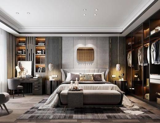 卧室, 双人床, 床头柜, 吊灯, 衣柜, 服饰, 墙饰, 书桌, 单人椅, 书柜, 书籍, 台灯, 床尾凳, 单人沙发, 摆件, 装饰品, 陈设品, 现代