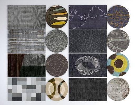 现代地毯, 地毯, 方形地毯, 圆形地毯
