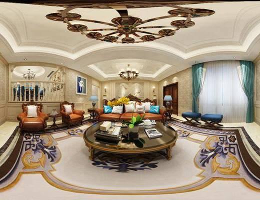 美式客厅, 客厅, 沙发组合, 全景