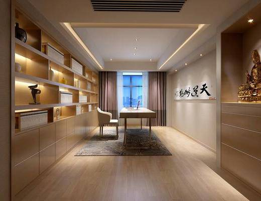 书房, 单人椅, 装饰柜, 佛像, 现代