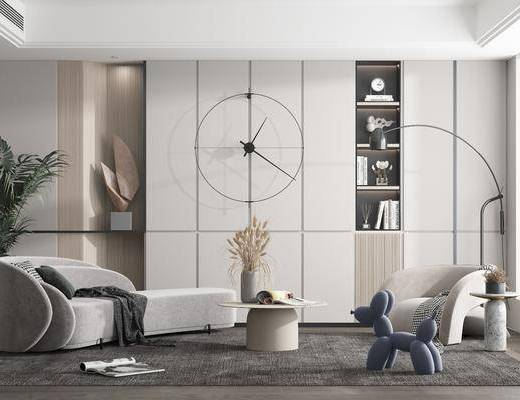 现代客厅, 沙发, 摆件, 挂饰, 茶几