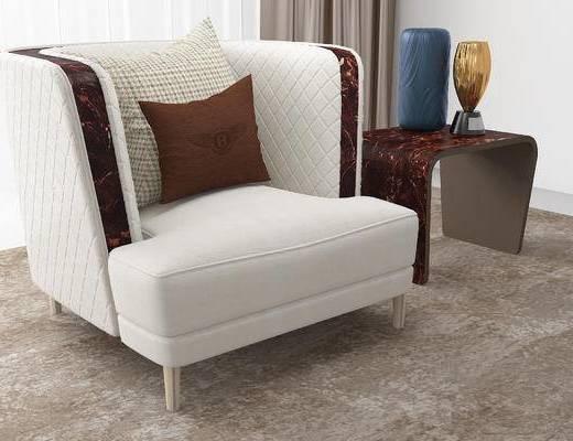 后现代, 沙发, 单人沙发, 案几, 摆件, 瓷器, 装饰品