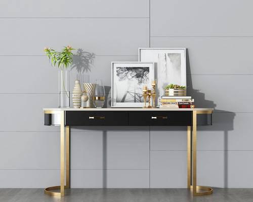 装饰柜, 端景台, 装饰画, 绿植, 陈设品