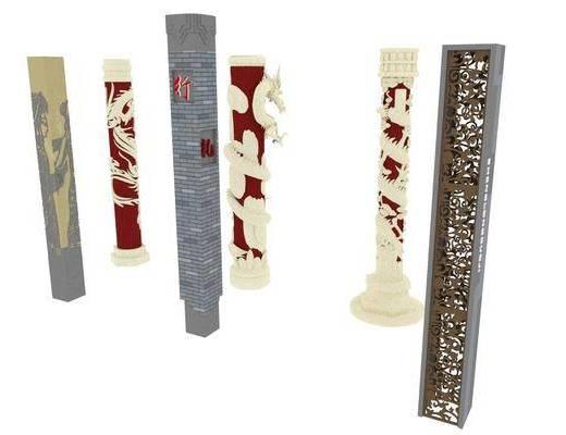中式, 景觀柱, 單體, 擺件