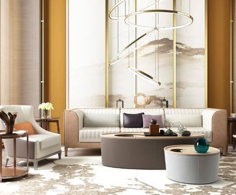 现代沙发, 茶几, 椅子, 圆形金属吊灯, 现代