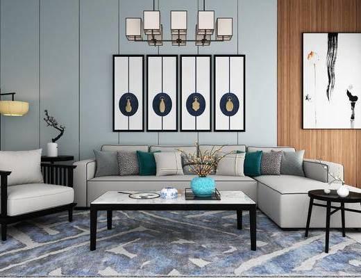 新中式, 中式, 沙发组合, 转角沙发, 单人沙发, 落地灯, 边几, 茶几, 装饰画, 挂画, 吊灯