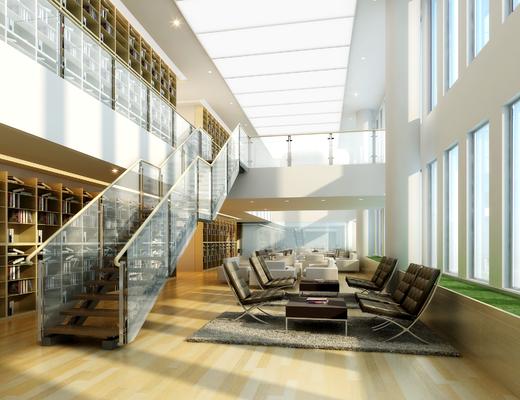 玻璃楼梯, 单椅, 茶几, 玻璃, 地毯