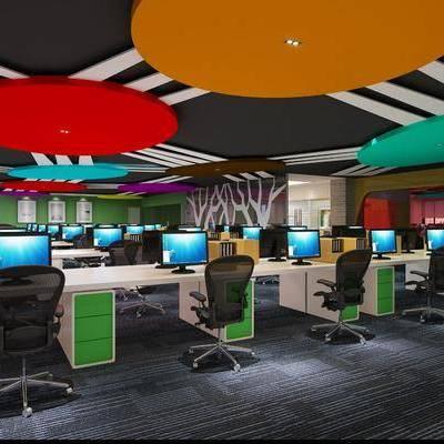 办公区, 办公桌, 现代