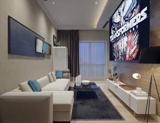 客厅, 多人沙发, 茶几, 装饰画, 挂画, 冰箱, 装饰柜, 边柜, 电视柜, 落地灯, 台灯, 摆件, 装饰品, 陈设品, 现代