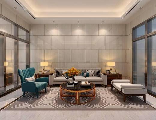 现代, 大厅, 大堂, 会客室, 前台, 接待, 沙发, 茶几, 摆件, 装饰品, 陈设品, 台灯
