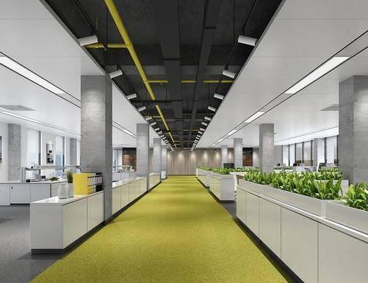 办公区, 办公桌, 绿植植物, 装饰画, 挂画, 现代