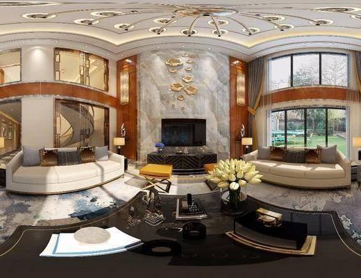 别墅, 客厅, 全景, 后现代, 沙发组合, 沙发茶几组合, 现代