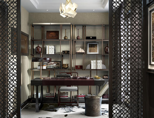 书房, 桌椅, 书桌椅, 椅子, 桌子, 博古架