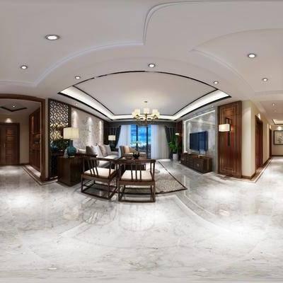 中式客餐厅全景模型, 全景模型, 360, 中式客厅, 中式餐厅