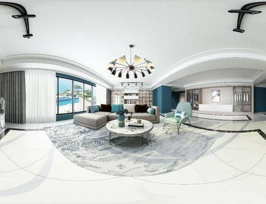 客厅, 现代客厅, 全景图, 沙发组合, 茶几, 吊灯, 花瓶花卉, 现代