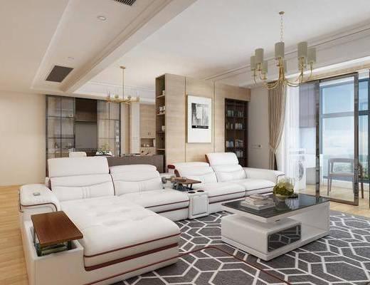 沙发组合, 茶几, 吊灯, 摆件组合, 装饰画