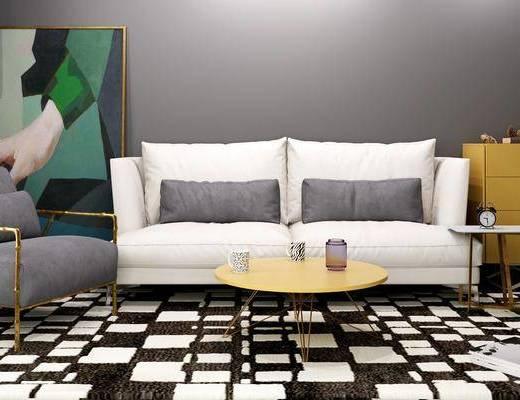 多人沙发, 双人沙发, 茶几, 边几, 单人沙发, 装饰画, 挂画, 边柜, 装饰柜, 现代