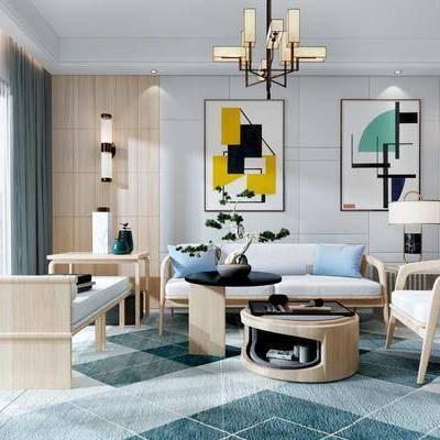 多人沙发, 单人沙发, 装饰画, 摆件, 台灯, 壁灯, 茶几, 绿植, 吊灯, 榻, 新中式, 客厅