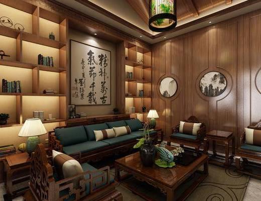 茶室, 双人沙发, 茶几, 单人沙发, 边几, 台灯, 装饰柜, 吊灯, 装饰品, 陈设品, 前台, 单人椅, 楼梯, 茶桌, 凳子, 装饰画, 挂画, 新中式