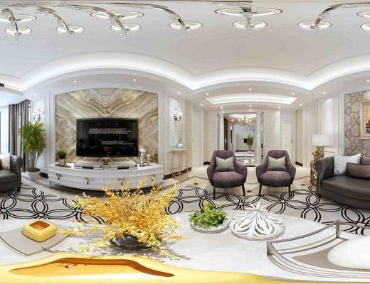 沙发组合, 沙发茶几组合, 新古典客厅, 客厅, 电视柜, 吊灯, 新古典