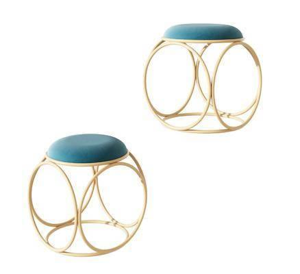 现代圆形金属凳子, 现代创意凳子