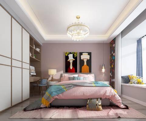 现代卧室, 儿童房, 挂画, 现代吊灯, 水晶灯, 衣柜, 台灯, 床头柜