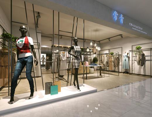 展厅, 货架, 服装, 植物, 模特
