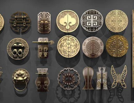 门把, 把手, 金属, 铜制, 中式把手, 中式