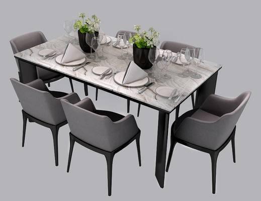 现代餐桌椅, 北欧餐桌椅, 实木餐桌椅, 六人位餐桌椅, 现代, 北欧, 餐桌椅, 单椅, 椅子, 餐桌, 桌子, 餐具