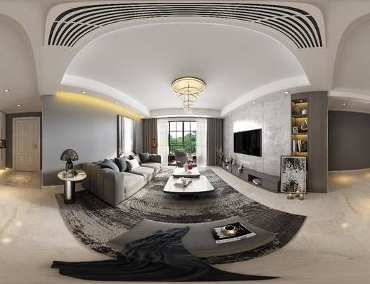 客厅, 现代简约客厅, 沙发组合, 全景图, 茶几, 吊灯, 台灯, 摆件, 沙发凳, 电视柜, 现代简约, 现代