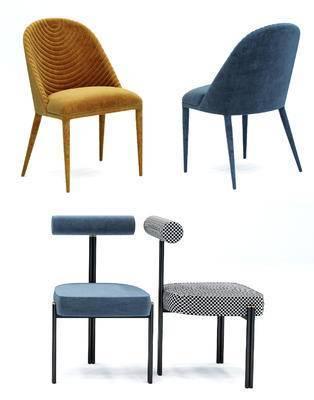 现代布艺单椅餐椅