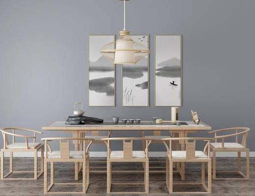 中式茶桌, 吊灯, 挂画