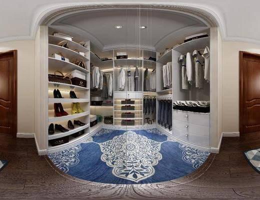 衣帽间, 衣柜, 服饰, 梳妆台, 凳子, 家装全景, 现代
