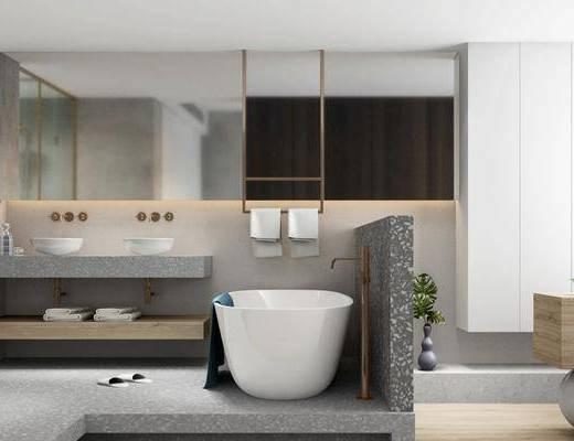 卫浴, 浴缸, 壁镜, 洗手盆