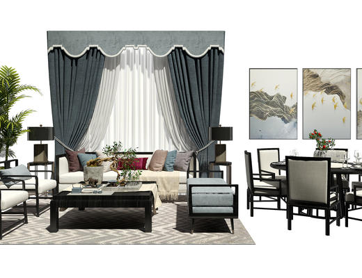 沙发组合, 沙发茶几组合, 装饰画, 窗帘, 餐桌椅, 桌椅组合