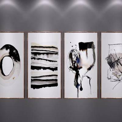 中式装饰挂画, 中式艺术画, 中式端景画, 中式水墨画, 中式, 新中式, 装饰画, 挂画