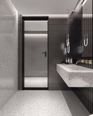 衛浴, 現代衛生間3d模型, 淋浴間, 洗手臺
