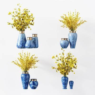 花瓶, 花卉, 新中式花瓶花卉, 摆件, 装饰品, 新中式, 双十一