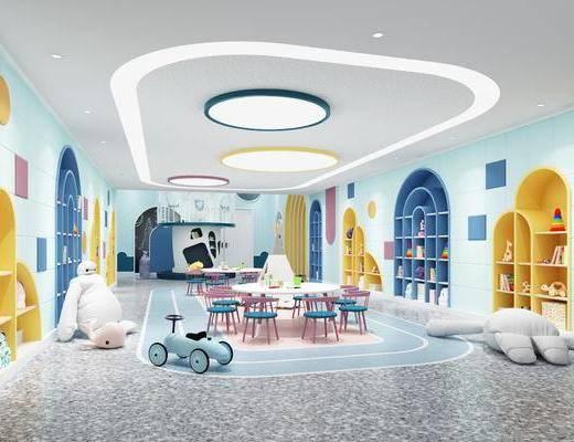 活动区, 玩具, 墙饰, 吸顶灯