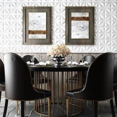 现代奢华圆形餐桌椅, 高档餐桌椅, 皮餐椅, 深色餐桌椅, 黑色餐桌椅