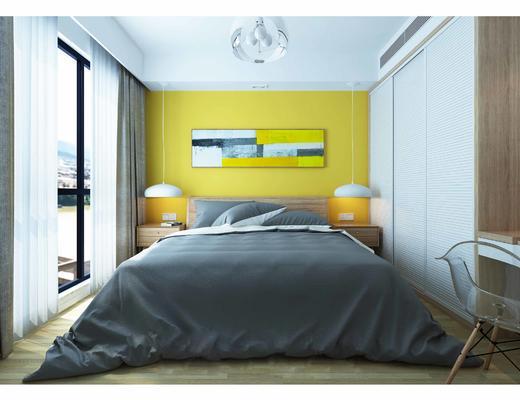 北欧, 卧室, 挂画, 灯具, 双人床
