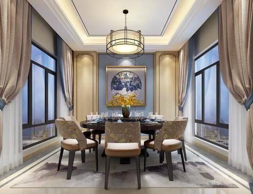 新中式别墅餐厅, 新中式, 餐厅, 中式吊灯, 窗帘, 餐桌椅, 椅子