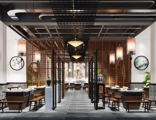 主题火锅店, 餐厅, 餐桌, 餐椅, 单人椅, 吊灯, 餐具, 盆栽, 绿植植物, 中式