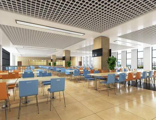 食堂, 现代食堂, 桌椅组合, 现代