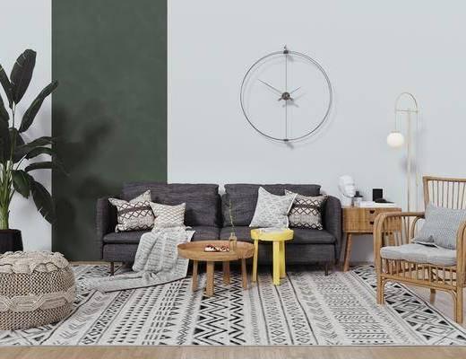 多人沙发, 茶几, 休闲椅, 绿植, 摆件